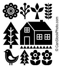 Finnish inspired folk art pattern - Scandinavian, Nordic style in black