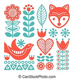 Finnish inspired folk art pattern - Scandinavian, Nordic...