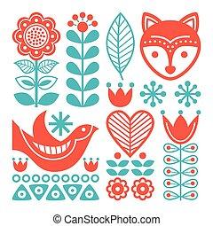 Finnish inspired folk art pattern - Scandinavian, Nordic...