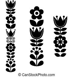 Floral cute designs in black - Nordic, Scandinavian flower background