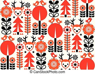 Finnish inspired seamless vector folk art pattern - Scandinavian, Nordic style with flowers and animals