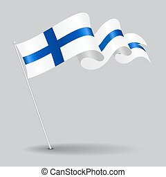 Finnish pin wavy flag. illustration. - Finnish pin icon wavy...