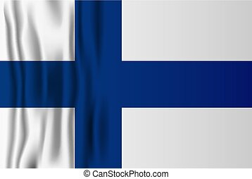 Finnish realistic flag vector illustration. Finland independence national day