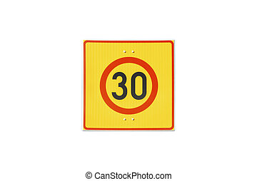Finnish speed limit sign 30 km h isolated on white background