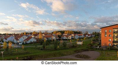 Finnish suburbs in good weather in autumn.