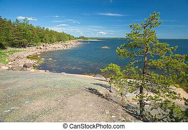 Finnish summer - rocky shore, sunny