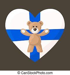 Finnish Teddy Bears - Teddy Bears with heart with flag of ...