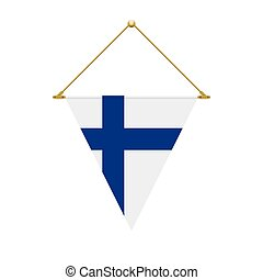 Finnish triangle flag hanging, vector illustration - Flag...