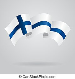 Finnish waving Flag. Vector illustration Eps 8.