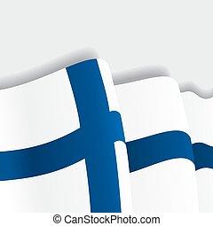 Finnish waving Flag. Vector illustration.