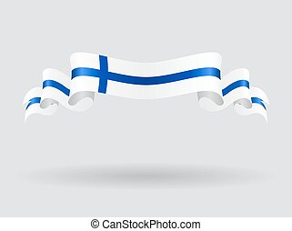 Finnish wavy flag illustration. - Finnish flag wavy abstract...