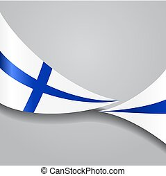 Finnish wavy flag. Vector illustration. - Finnish flag wavy...