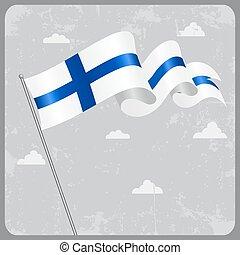 Finnish wavy flag. Vector illustration. - Finnish flag wavy...