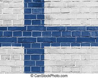 finnország, politika, concept:, finnish lobogó, fal