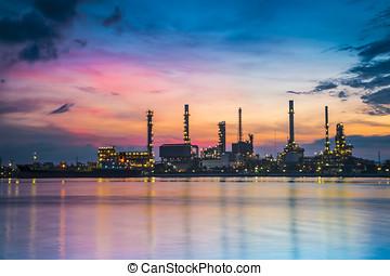finomító, berendezés, olaj iparág, reggel, 1, mentén, félhomály
