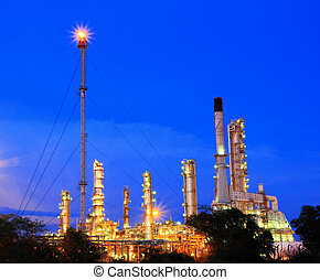 finomító, berendezés, petrolkémiai, félhomály, olaj