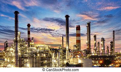 finomító, gyár, iparág, olaj