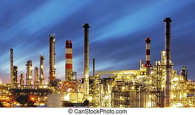 finomító, napnyugta, olaj, -, gyár