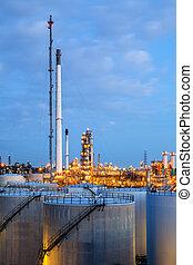 finomító, olaj, gyár, táj