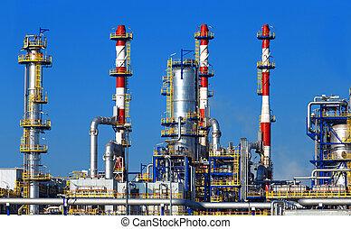 finomító, petrolkémiai, olaj, berendezés