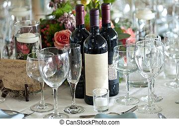 finom, beállítás, palack, bor, asztal