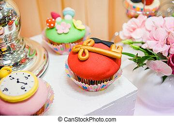 finom, cukor, kulcs, díszes, cupcakes, óra