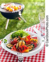 finom, egészséges, tányér of, pörkölt, növényi, veggie