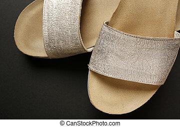 finom, ezüst, női, cipők