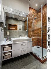 finom, fürdőszoba, belső