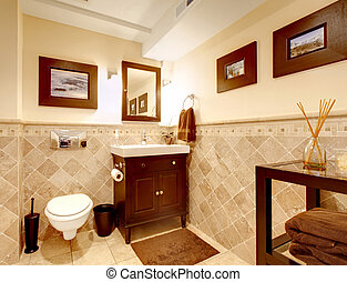 finom, fürdőszoba, interior., klasszikus, otthon