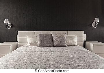 finom, fiatalúr, ágy, hálószoba