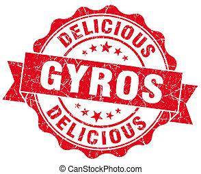 finom, gyros, grunge, piros, szüret, kerek, elszigetelt,...