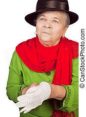 finom, idősebb ember, öregasszony, és, fehér, kesztyű