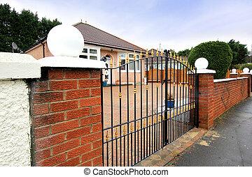 finom, kerítés, kívül, brit, épület