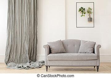 finom, minimalista, belső, szoba, eleven