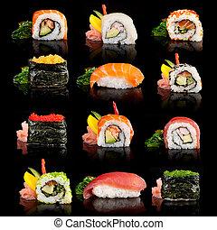finom, sushi, darabok