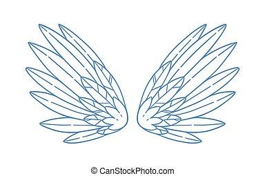 finom, vagy, betű, kasfogó, széles, feathers., szeret, fehér, tulajdonság, jámbor, elszigetelt, vektor, ámor, madár, angyal, pár, gyönyörű, nagyszerű, monochrom, jelkép, illustration., nyílik