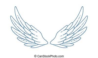 finom, vagy, betű, kasfogó, széles, tulajdonság, jámbor, elszigetelt, vektor, white., tollazat, madár, angyal, szent, ég, gyönyörű, monochrom, nagyszerű, jelkép, szerelmi ügy, illustration., nyílik
