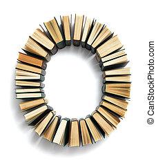 fins, formé, o, livres, lettre, page