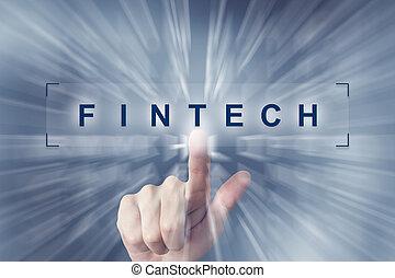 fintech, かちりと鳴ること, ボタン, 手, 財政, 技術, ∥あるいは∥