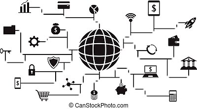 Fintech Black Icons Around A Globe On White Background