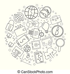 Fintech circle background from line icon. Linear vector pattern.