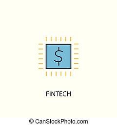 fintech concept 2 colored line icon. Simple yellow and blue element illustration. fintech concept outline design