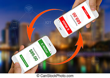 fintech, eller, finansiell, teknologi, begrepp, illustrerat, av, användande, smartphone, och, e-wallet, app, till gör, betalning, eller, överlåta, pengar