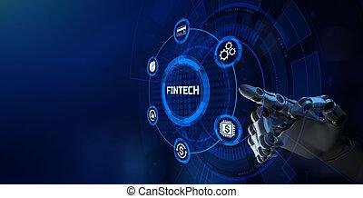 FIntech Financial technology online banking e-payment. Robotic arm 3d rendering.