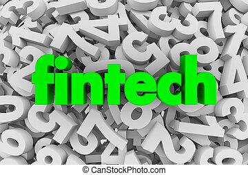 fintech, financiero, software, servicio, aplicación, números, contabilidad, 3d, ilustración