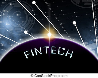 Fintech Globe Worldwide Web Payment 2d Illustration Shows...