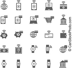 fintech, icônes, blanc, fond