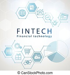 Financial Technology icons with hexagon background