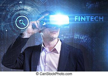 fintech, réseau, fonctionnement, inscription:, concept., jeune, virtuel, business, homme affaires, internet, voit, technologie, réalité, lunettes
